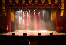 Scene, stage light with colored spotlights Royalty Free Stock Photos