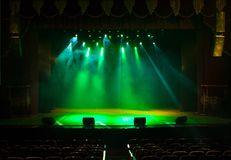 Scene, stage light with colored spotlights Royalty Free Stock Image