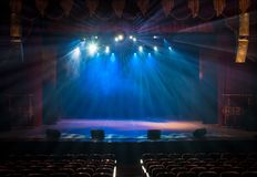Scene, stage light with colored spotlights Royalty Free Stock Photo