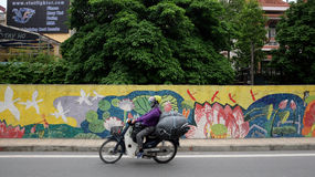 The scene of street in Hanoi Vietnam 2015. Royalty Free Stock Photos