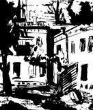 Scene street illustration. Hand drawn ink line sketch European old town Odessa , historical architecture with windows Royalty Free Stock Photography