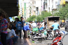 Scene at street near Ben Thanh Market in Saigon, Vietnam Royalty Free Stock Image