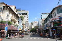 Scene at street near Ben Thanh Market in Saigon, Vietnam Royalty Free Stock Photography