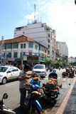 Scene at street near Ben Thanh Market in Saigon, Vietnam Royalty Free Stock Photos
