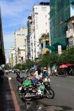 Scene at street near Ben Thanh Market in Saigon, Vietnam Stock Photos