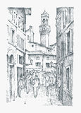 Scene Streets in European town Florence in Italy . engraved hand drawn in old sketch and vintage style. historical Stock Photos