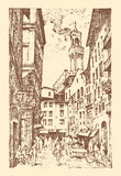 Scene Streets in European town Florence in Italy . engraved hand drawn in old sketch and vintage style. historical Stock Images