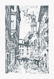 Scene Streets in European town Florence in Italy . engraved hand drawn in old sketch and vintage style. historical Stock Image