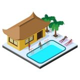 Scene of summer rest in isometric view with bungalow hotel, swimming pool, sunbeds, palm trees and people.  Royalty Free Stock Image