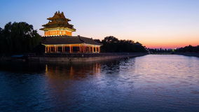 The scene of sunset at corner tower. Of Palace Museum, Beijing, China stock footage