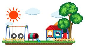 Scene with swing and playhouse. Illustration Royalty Free Stock Photos