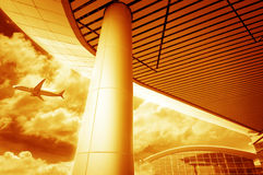 The scene of T3 airport building in beijing china. Interior of the airport royalty free stock photo