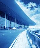 The scene of T3 airport building in beijing china. Interior of the airport stock photos