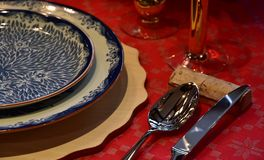 Scene of the tableware on the red table Royalty Free Stock Photo