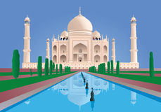 Scene Taj Mahal. India. from the front. Vector. Very High Detail Royalty Free Stock Images
