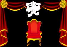 Scene theatre with curtain by chair Stock Photos