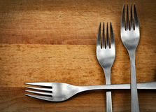 Scene with three metal forks Stock Image