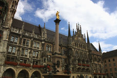 The scene of town hall at the Marienplatz in Munich Royalty Free Stock Photo