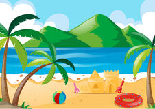 Scene with toys on the beach. Illustration Royalty Free Stock Images