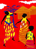 Scene of traditional life on a piece of a red cotton fabric Royalty Free Stock Photography