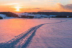 Scene with trail on snow at sunset background Royalty Free Stock Photo
