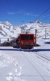 Scene of train running at Gornergrat station Royalty Free Stock Photo