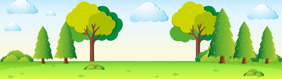 Scene with trees in the field. Illustration Royalty Free Stock Photo