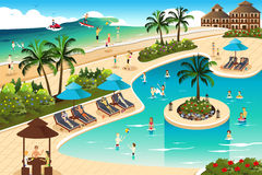 Scene in a tropical resort Royalty Free Stock Photography
