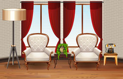 Scene with two armchairs in the room Stock Photos
