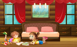 Scene with two girls in bedroom. Illustration Stock Image