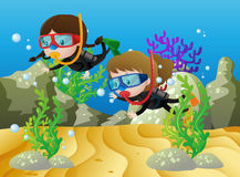 Scene with two girls diving under the sea. Illustration Stock Images