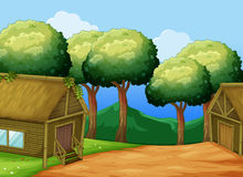 Scene with two wooden cottages Royalty Free Stock Image