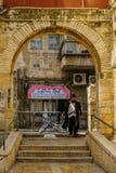 Scene of the ultra-orthodox neighborhood Mea Shearim, Jerusalem. JERUSALEM, ISRAEL - JULY 12, 2017: Scene of the ultra-orthodox neighborhood Mea Shearim, with royalty free stock image