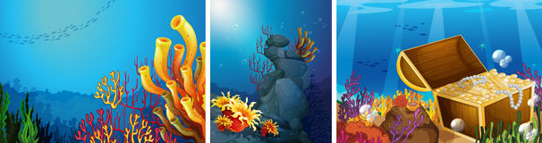 Scene underwater with coral reef Royalty Free Stock Photos