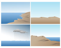 Scene vector set with ocean, sand dunes and hills. Sharp gradient full color scenes set with smooth ocean, sand dunes, clouds, waves and rolling hills Royalty Free Stock Photos