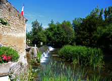 Scene at Verteuil-Sur-Charente. France, on the River Charente stock images