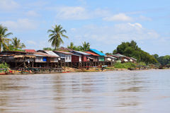 Scene of village beside mekong river in champasak southern of Laos Stock Images