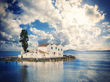 Scene of Vlacherna monastery, Kanoni, Corfu Royalty Free Stock Photos