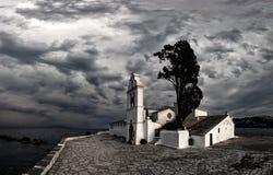 Scene of Vlacherna monastery, Kanoni, Corfu Stock Photo