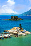 Scene of Vlacherna monastery, Kanoni, Corfu, Greece Stock Photo