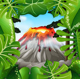 Scene with volcano with lava Stock Images