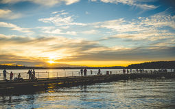 Scene of walk way on the lake when sunset. Royalty Free Stock Photography