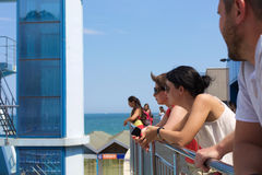 A scene of watching water sports in Varna, Bulgaria Royalty Free Stock Images