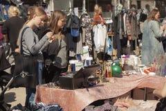 Scene from weekend flea market. Shopping objects at flea market is a popular hobby. Stock Image. Scene from weekend flea market. Shopping objects at flea market stock photos