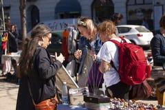 Scene from weekend flea market. Shopping objects at flea market is a popular hobby. Stock Image. Scene from weekend flea market. Shopping objects at flea market royalty free stock photography