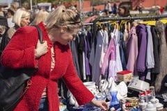 Scene from weekend flea market. Shopping objects at flea market is a popular hobby. Stock Image. Scene from weekend flea market. Shopping objects at flea market stock images