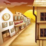 Scene with western style houses along the road. Illustration royalty free illustration