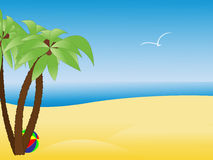 Scene With Empty Tropical Beach, Palm Trees Royalty Free Stock Photography