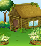 Scene with wood cabin in the garden vector illustration