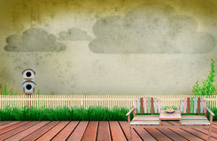 Scene of wood terrace in garden with cloud on sky Royalty Free Stock Images